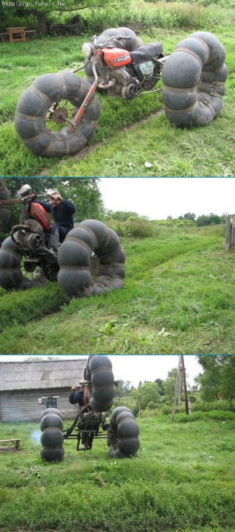 Необычные мотоциклы. Мотоцикл без пакрышен, но на камерах